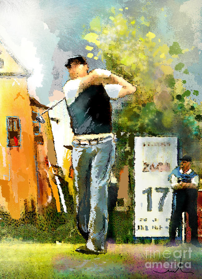 Golf Painting - Golf In Club Fontana Austria 01 Dyptic Part 01 by Miki De Goodaboom