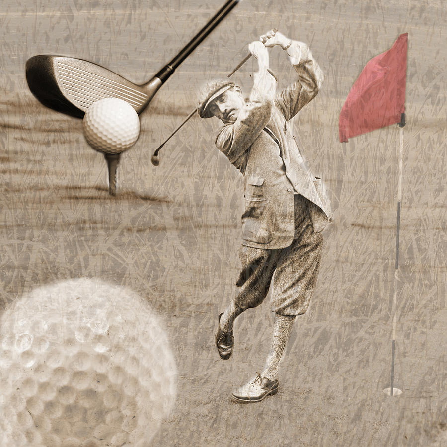 Golf Photograph - Golf Red Flag Vintage Photo Collage by Karla Beatty