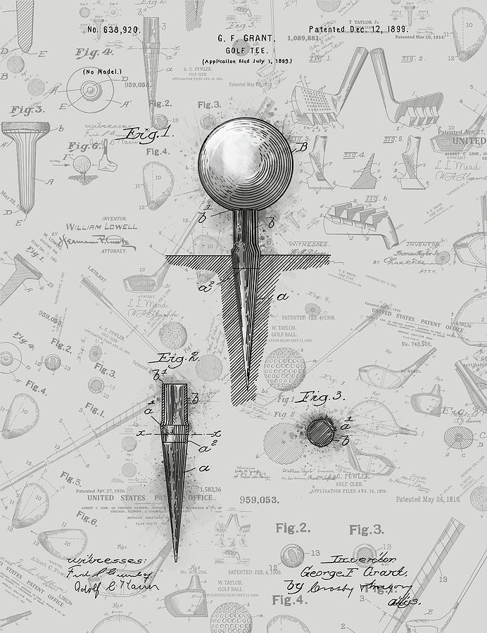 Golf Digital Art - Golf Tee Patent Drawing Grey 2 by Bekim M