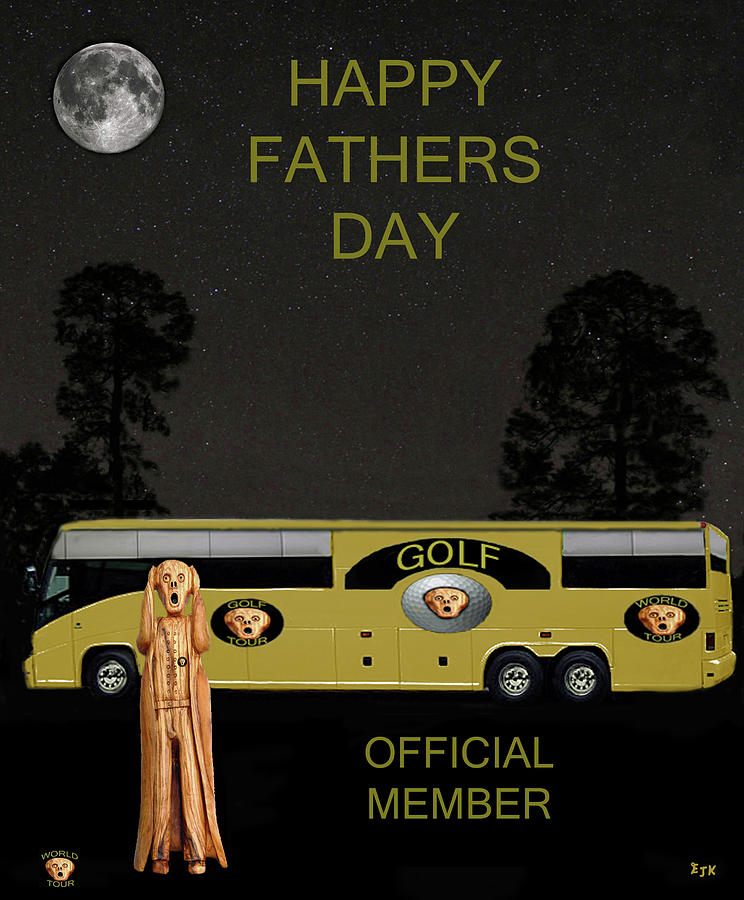 The Scream Mixed Media - Golf  World Tour Scream Happy Fathers Day by Eric Kempson