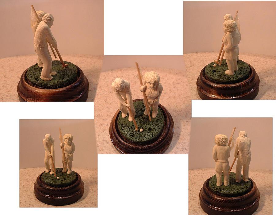 Miniatures Sculpture - Golfers by Reuven Gayle