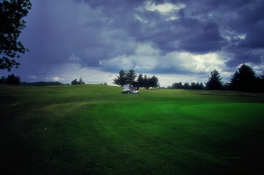 Golfing Photograph - Golfing Before The Rain Golf Cart 01 by Thomas Woolworth
