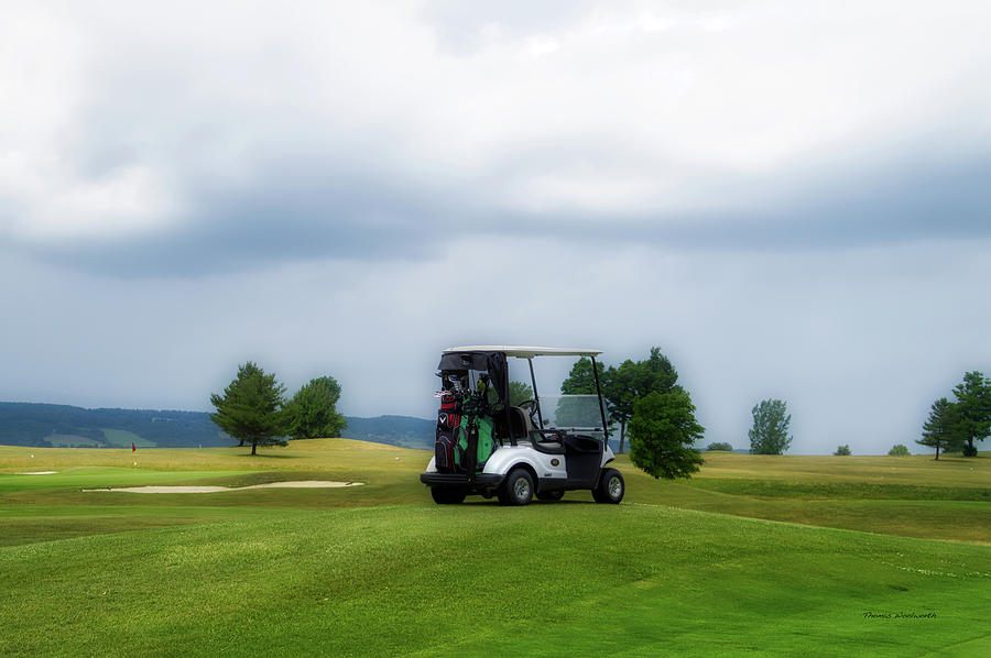 Golfing Photograph - Golfing Before The Rain Golf Cart 02 by Thomas Woolworth