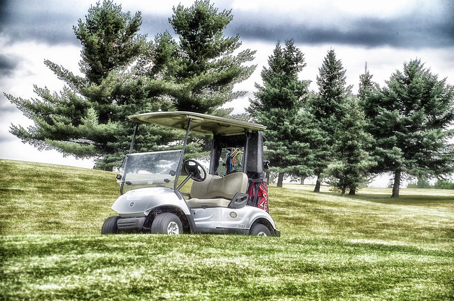 Golfing Photograph - Golfing Before The Rain Golf Cart 03 by Thomas Woolworth