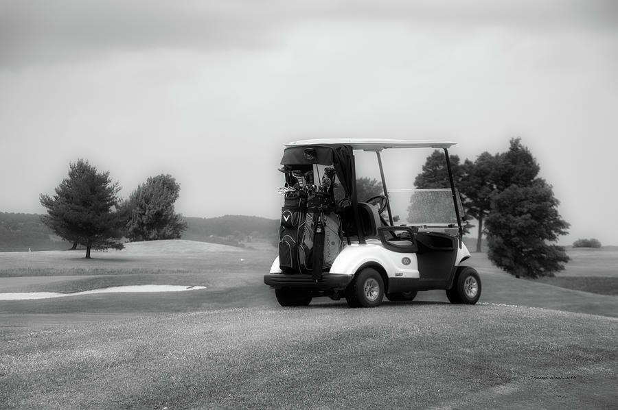 Tully New York Photograph - Golfing Golf Cart 06 Bw by Thomas Woolworth