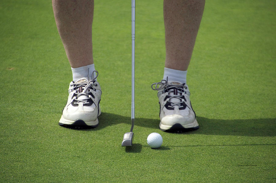 New York Photograph - Golfing Lining Up The Putt by Thomas Woolworth