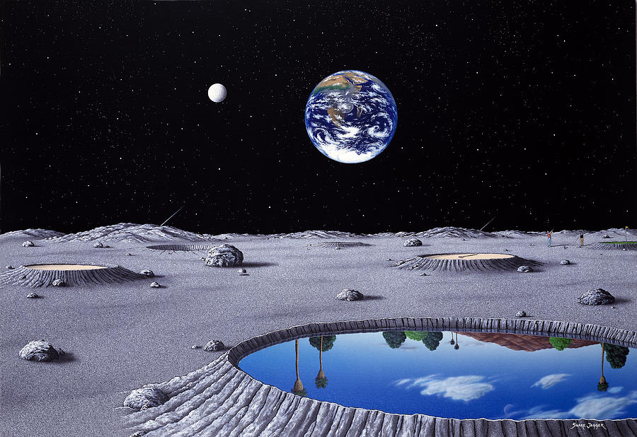 Landscape Painting - Golfing On The Moon by Snake Jagger