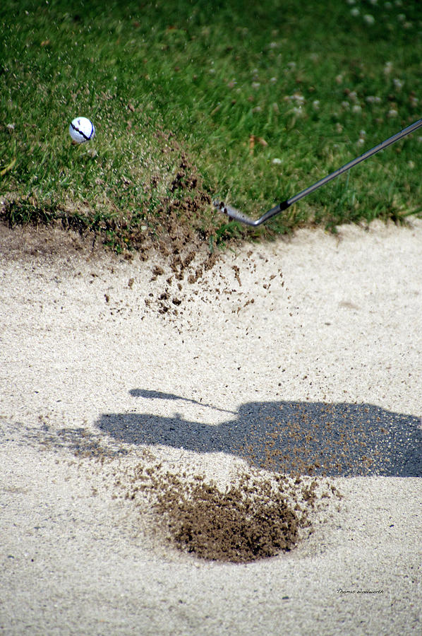 New York Photograph - Golfing Sand Trap The Ball In Flight 01 by Thomas Woolworth