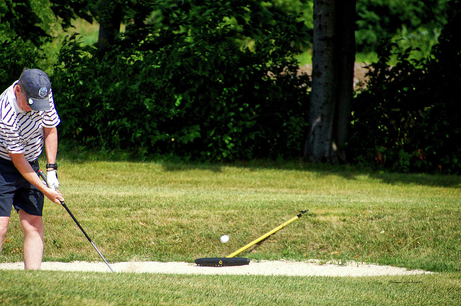 New York Photograph - Golfing Sand Trap The Ball In Flight 02 by Thomas Woolworth
