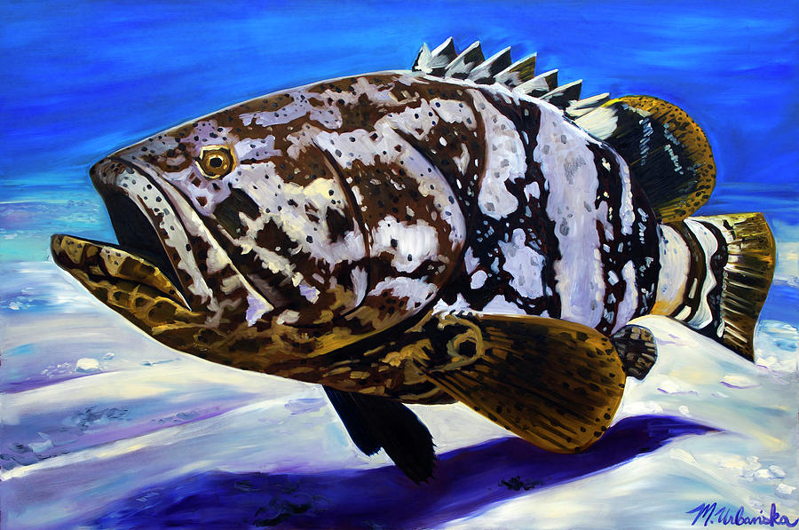 Goliath Grouper Painting - Goliath Grouper by Monika Urbanska