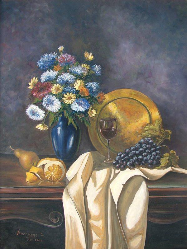 Still Life Painting - Gollden Tray by Charalampos Laskaris