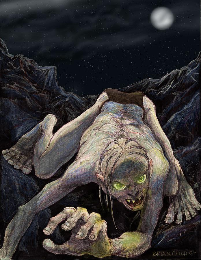 Lord Of The Rings Mixed Media - Gollum Descends by Brian Child