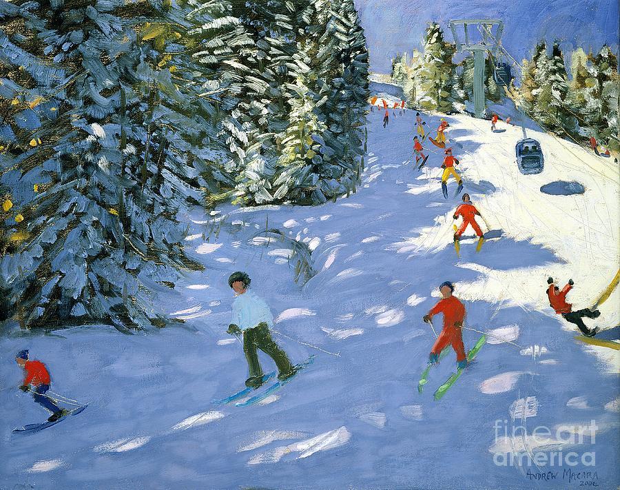 Piste Painting - Gondola Austrian Alps by Andrew macara