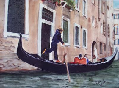 Gondola Print - Gondola In Italy by Rose Wood