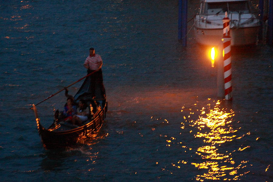 Venice Photograph - Gondola Ride On Grand Canal At Night by Michael Henderson