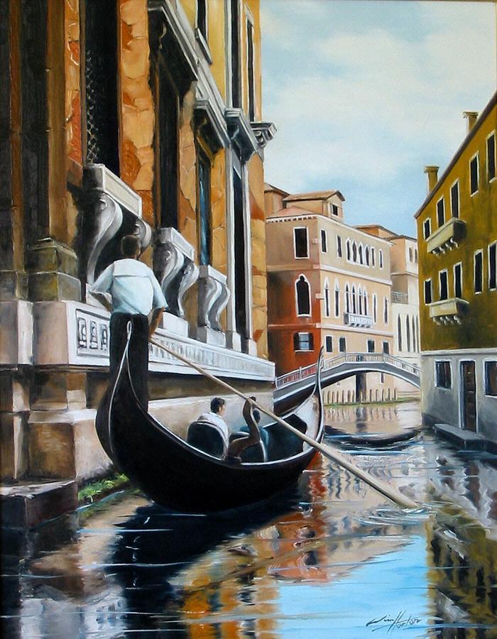 Gondola Ride On Venice Italy Canal Painting By Jim Horton