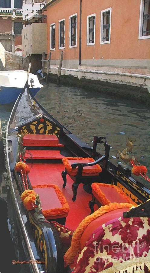 Capri Digital Art - Gondola Rossa Venice Italy by Italian Art