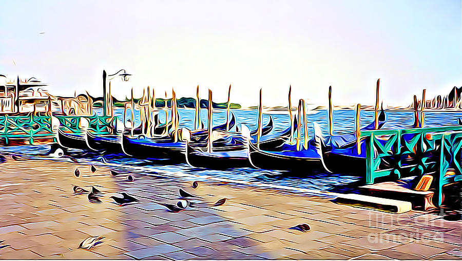 Gondolas and Pigeons in Venice by Tracy Ruckman