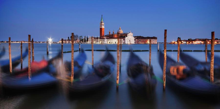 Gondolas and San Giorgio Maggiore at Night - Venice by Barry O Carroll