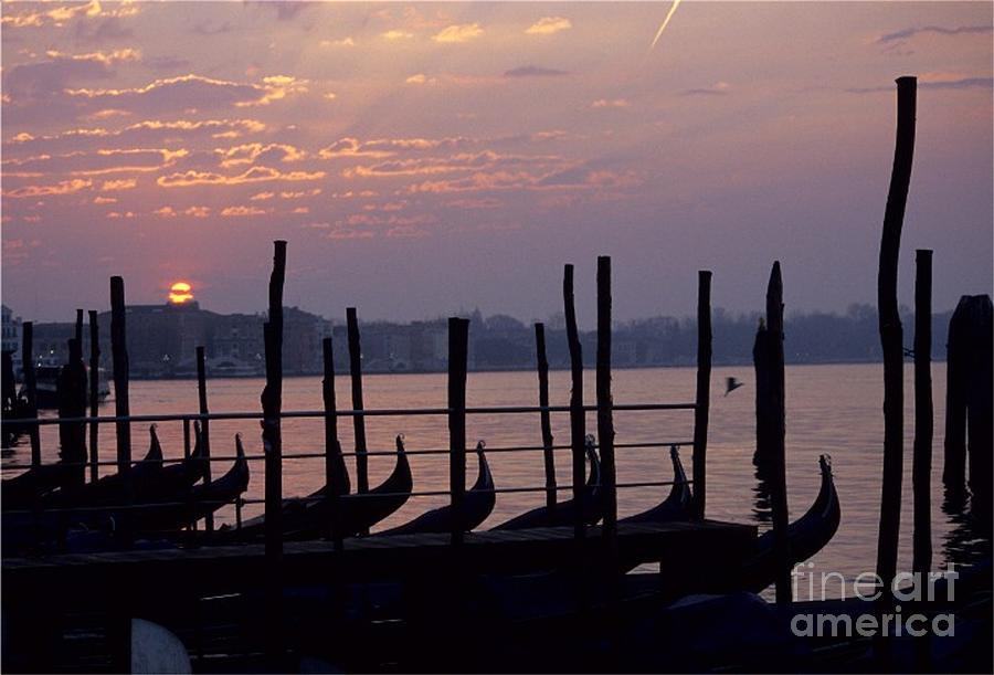 Venice Photograph - Gondolas In Venice At Sunrise by Michael Henderson