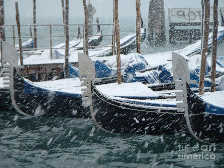 Venice Photograph - Gondolas In Venice During Snow Storm by Michael Henderson