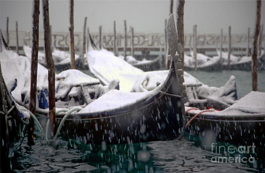 Venice Photograph - Gondolas In Venice In The Snow by Michael Henderson
