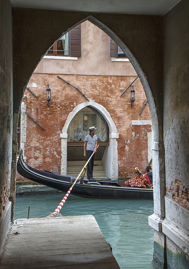 Italy Photograph - Gondolier in Frame Venice Italy by Rick Starbuck