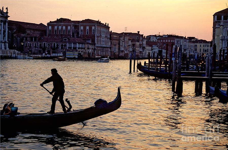 Venice Photograph - Gondolier In Venice In Silhouette by Michael Henderson