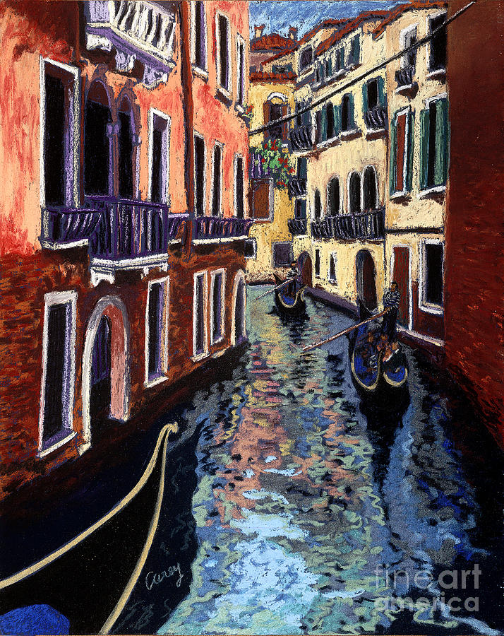 Venice Pastel - Gondoliers by Cathy Carey