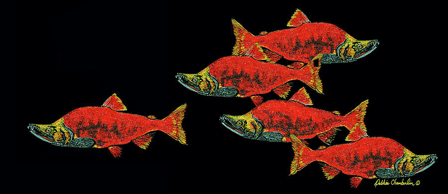 Salmon Painting - Gone Fishing by Debbie Chamberlin