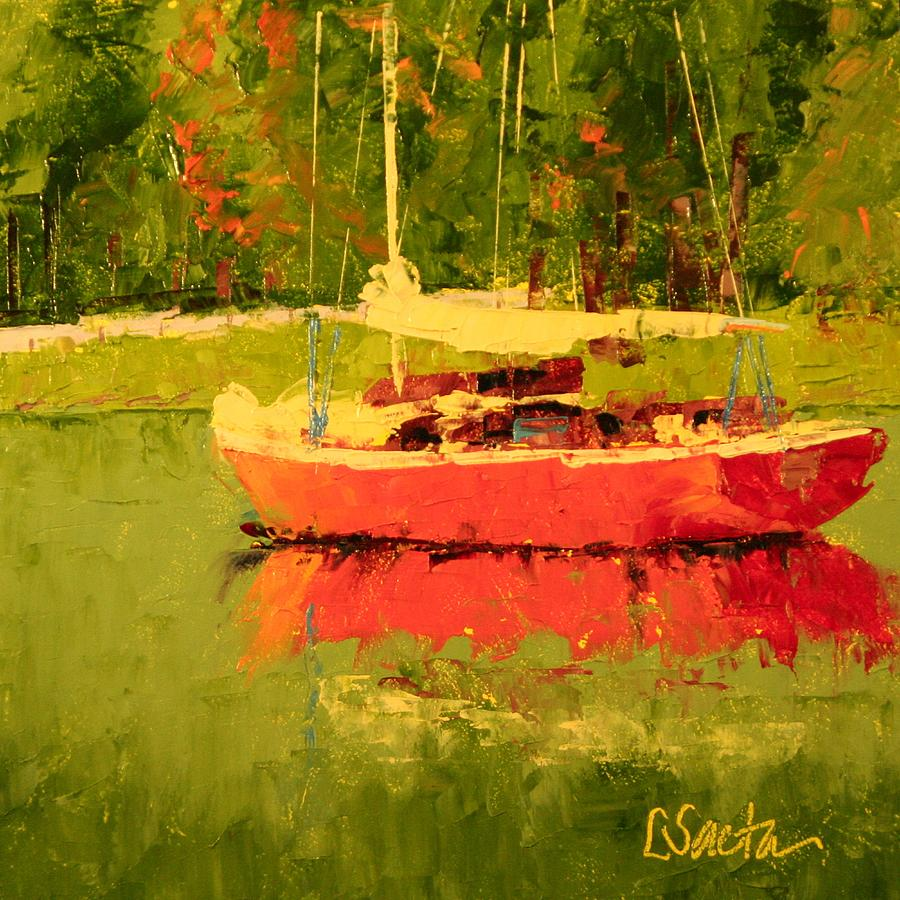 Paintings Painting - Gone For A Swim by Leslie Saeta