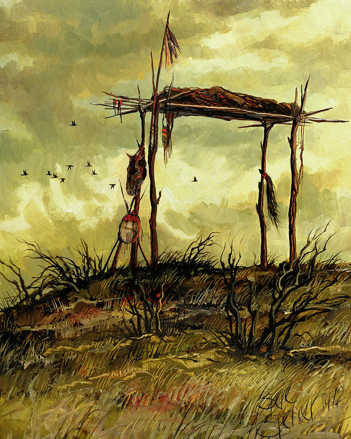 Indial Burial Painting - Gone To The Spirit Trail by Steve Spencer