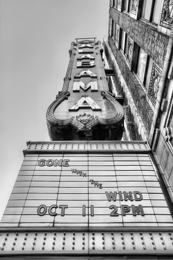 The Alabama Theater Photograph - Gone With the Wind Black and White by JC Findley