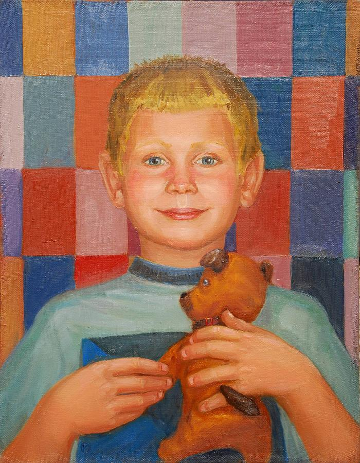 Boy Painting - Good Boy by Marina Bare