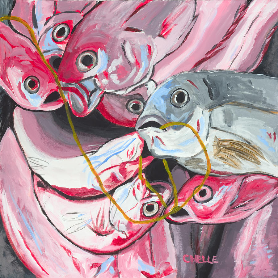 Fish Painting - Good Catch by Chelle Fazal