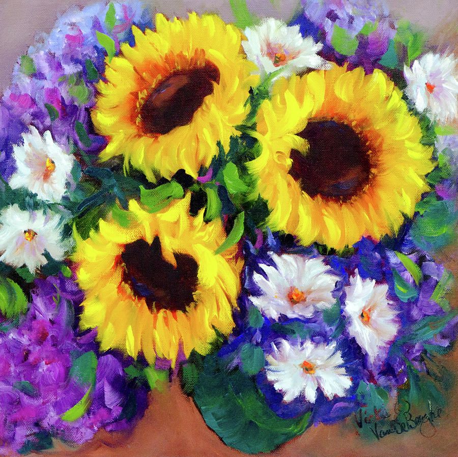 Blooms Painting - Good Day Sunflowers by Vicki VanDeBerghe
