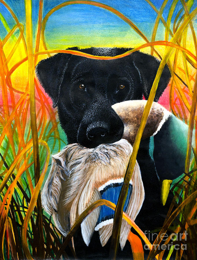Lab Painting - Good Dog by Rosetta Medders