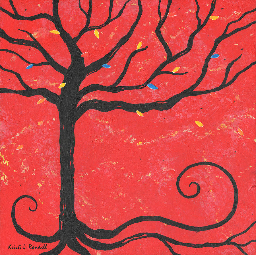 Tree Painting - Good Luck Tree - Left by Kristi L Randall