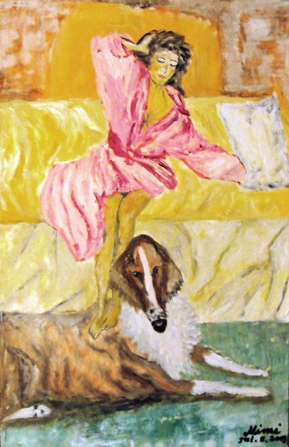 Dog Painting - Good Morning Dogie by Mimi Eskenazi