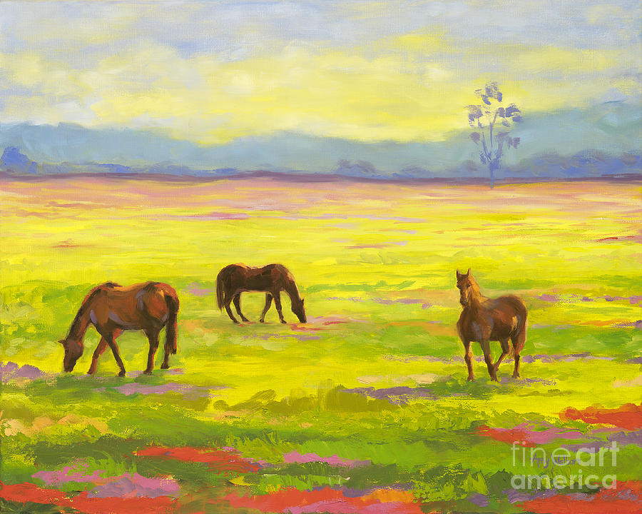 Landscape Painting - Good Morning Horses by Amy Welborn