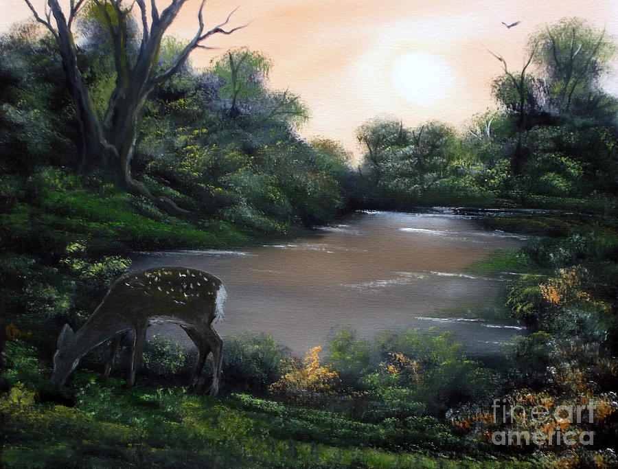 Deer Painting - Good Morning My Deer. by Cynthia Adams