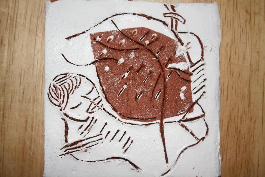 Jesus Ceramic Art - Good Shepherd - Tile by Gloria Ssali