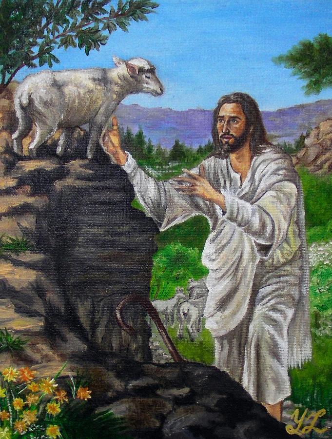 Jesus Painting - Good Shepherd by Yulia Litvinova
