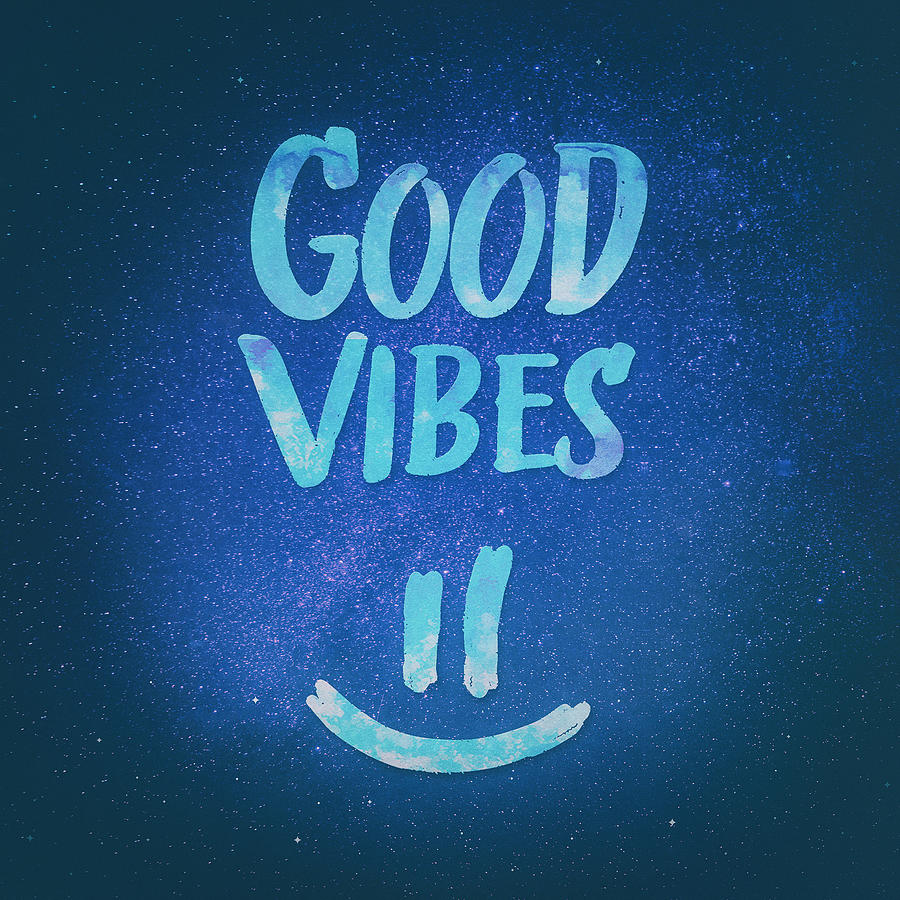 Good Vibes Funny Smiley Statement Happy Face Blue Stars ...