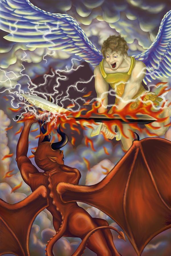 Digital Painting - Good Vs Evil by Tom Wrenn