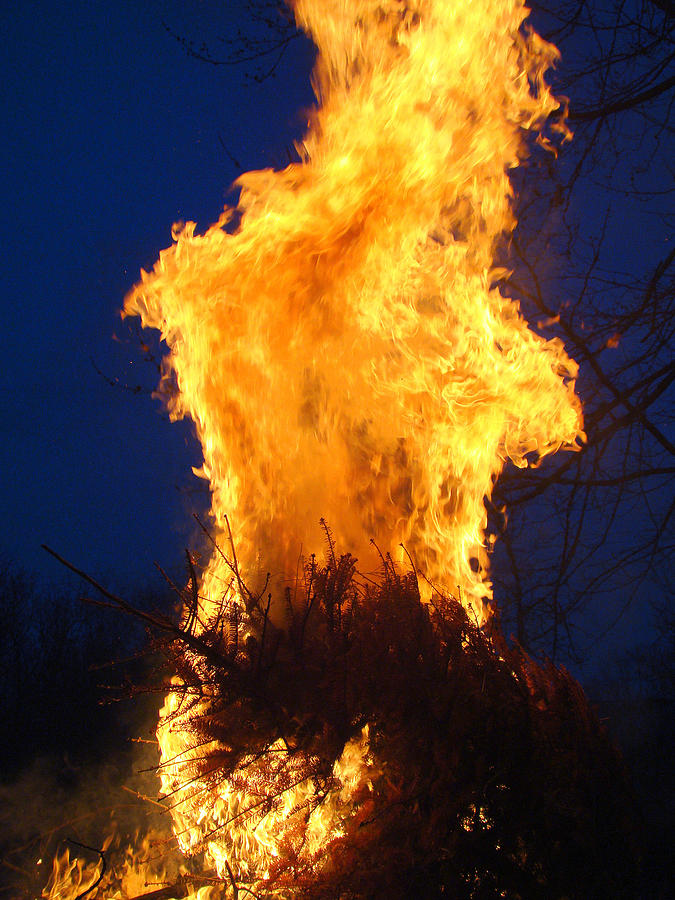 Fire Photograph - Goodbye Christmas Tree by J R   Seymour