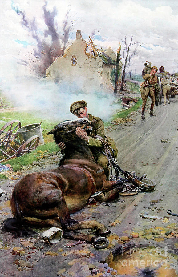 Ww1 Painting - Goodbye Old Man by Fortunino Matania