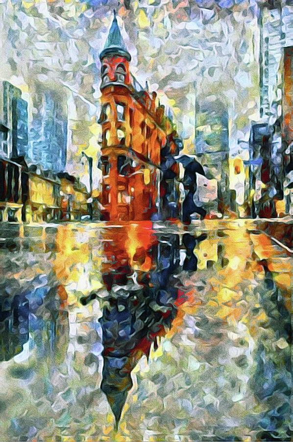 Rainstorm Mixed Media - Gooderham Flatiron Building In The Rain by Susan Maxwell Schmidt
