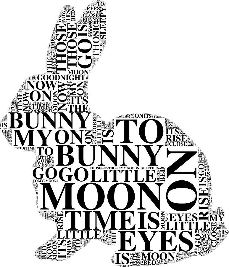 Typography Digital Art - Goodnight My Bunny by Alice Gipson