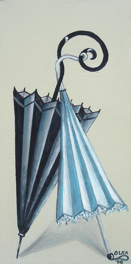 Umbrellas Painting - Goog Morning by Olga Alexeeva